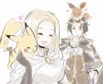 1girl aubz blonde_hair blush closed_eyes creatures_(company) cyrus_(octopath_traveler) dress eevee elbow_gloves game_freak gen_1_pokemon gloves jewelry long_hair necklace nintendo octopath_traveler ophilia_(octopath_traveler) pikachu pokemon pokemon_(creature) pokemon_(game) pokemon_lgpe short_hair simple_background smile tail white_background