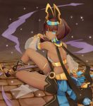 1girl bare_shoulders bareback barefoot_sandals black_hair blue_eyes dark_skin detached_sleeves dragalia_lost egyptian_clothes hair_tubes hat_ornament highres kuroboshi_roki nefaria sandals see-through_sleeves sitting smoke solo thigh_strap