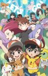 6+boys 6+girls ;d ayumi_(pokemon) bald baseball_cap black_eyes black_hair blonde_hair blue_eyes bob_cut bright_pupils brown_eyes brown_hair creatures_(company) eevee ekans english erika_(pokemon) everyone facial_hair fang flower game_freak gen_1_pokemon gen_7_pokemon glasses green_eyes grin gym_leader hair_intakes hairband hat highres japanese_clothes kakeru_(pokemon) kasumi_(pokemon) katsura_(pokemon) kimono koffing kojirou_(pokemon) kyou_(pokemon) lavender_hair long_hair looking_at_viewer matis_(pokemon) meltan meowth mew multiple_boys multiple_girls musashi_(pokemon) mustache natsume_(pokemon) ninja nintendo one_eye_closed open_mouth orange_hair pearl_earrings pikachu poke_ball_theme pokemon pokemon_(creature) pokemon_(game) pokemon_lgpe ponytail rose shin_(pokemon) shioiri short_hair short_sleeves smile spiky_hair sun takeshi_(pokemon) tank_top twitter_username white_hair