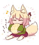 1girl animal_ear_fluff animal_ears bangs blonde_hair blush bread closed_eyes eating eighth_note eyebrows_visible_through_hair facing_viewer food fox_ears fox_girl fox_tail green_shirt hair_between_eyes hair_bun hair_ornament holding holding_food kemomimi-chan_(naga_u) long_hair long_sleeves melon_bread musical_note naga_u no_shoes original pleated_skirt purple_skirt ribbon-trimmed_legwear ribbon_trim shadow shirt sidelocks sitting skirt sleeves_past_fingers sleeves_past_wrists solo tail thigh-highs translation_request white_background white_legwear