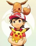1boy animal animal_on_head baseball_cap black_hair brown_eyes carrying closed_mouth creatures_(company) eevee game_freak gen_1_pokemon hat highres jacket kakeru_(pokemon) looking_up male_focus nintendo on_head pikachu poke_ball_theme pokemon pokemon_(creature) pokemon_(game) pokemon_lgpe short_sleeves smile upper_body yanedx