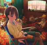 1girl abo_(kawatasyunnnosukesabu) animal animal_on_head aqua_neckwear autumn_leaves barrel bird bird_on_head birdhouse black_hair black_legwear blue_nails blush book book_on_lap brick_wall brown_hat bug chair commentary_request door dragonfly eating fence food green_skirt hair_bun hair_over_one_eye hat highres insect leaf long_sleeves maple_leaf nail_polish necktie on_head original pantyhose parted_lips plant pleated_skirt potted_plant red_eyes red_hat red_neckwear sack scarecrow sitting skirt sweet_potato watering_can window yakiimo yellow_cardigan