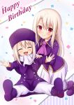 2girls :d ^_^ ascot blonde_hair blush boots closed_eyes commentary confetti dual_persona english_commentary eyebrows_visible_through_hair facing_viewer fate/kaleid_liner_prisma_illya fate/stay_night fate/zero fate_(series) hair_between_eyes happy_birthday hat highres illyasviel_von_einzbern long_hair long_skirt looking_at_viewer morokoshi_(tekku) multiple_girls open_mouth outstretched_arms pants pink_neckwear purple_coat purple_footwear scarf simple_background sitting skirt smile time_paradox white_background white_scarf white_skirt