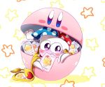 1boy blush candy candy_wrapper capsule claws commentary_request fang food food_in_mouth hallons_kabo hat heart highres hoshi_no_kirby hoshi_no_kirby_super_deluxe jester_cap kirby kirby_(series) kirby_super_star looking_at_viewer marx nintendo no_humans shadow smile solo star violet_eyes wings yellow_wings
