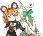2girls alternate_costume animal_ear_fluff animal_ears art556_(girls_frontline) bangs bear_ears black_bra black_collar black_shirt blush bow bra cheek_licking eyebrows_visible_through_hair face_licking girls_frontline gloves green_bow green_hair green_skirt grizzly_mkv_(girls_frontline) hair_bow heart highres licking long_hair midriff multiple_girls orange_hair pelican_(s030) shirt short_hair shoulder_cutout skirt twintails underwear violet_eyes white_gloves