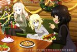 3girls absurdres andou_(girls_und_panzer) bird black_hair blonde_hair blue_eyes bow cake calendar_(medium) candy candy_cane chicken christmas christmas_ornaments christmas_tree christmas_wreath couch drill_hair food fruit gift gift_wrapping girls_und_panzer green_eyes highres hood hoodie lettuce marie_(girls_und_panzer) multiple_girls open_mouth ornament oshida_(girls_und_panzer) plate pointing sitting smile strawberry sweater table tinsel turkey_(food) turkey_leg turtleneck turtleneck_sweater wooden_wall