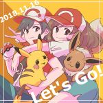 1boy 1girl ayumi_(pokemon) baseball_cap black_hair brown_hair copyright_name creatures_(company) dated eevee game_freak gen_1_pokemon hat highres kakeru_(pokemon) looking_at_viewer nintendo pikachu poke_ball poke_ball_(generic) pokemon pokemon_(game) pokemon_lgpe shorts v