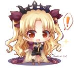 ! +_+ 1girl :d asymmetrical_legwear asymmetrical_sleeves bangs black_dress black_legwear blonde_hair blush breasts brown_ribbon cape chibi commentary_request dress earrings ereshkigal_(fate/grand_order) eyebrows_visible_through_hair fate/grand_order fate_(series) full_body hair_ribbon infinity jewelry kneehighs long_hair long_sleeves medium_breasts multicolored multicolored_cape multicolored_clothes open_mouth parted_bangs purple_cape red_eyes ribbon single_kneehigh single_sleeve skull smile solo sparkle spine spoken_exclamation_mark standing tiara tohsaka_rin twitter_username two_side_up upper_teeth v-shaped_eyebrows very_long_hair white_background yellow_cape yukiyuki_441