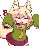 1girl :o animal_ear_fluff animal_ears arms_up bangs bell bell_collar blonde_hair blush brown_collar closed_eyes collar eyebrows_visible_through_hair facing_viewer fang fox_ears fox_girl fox_tail green_shirt hair_between_eyes hair_ornament jingle_bell kemomimi-chan_(naga_u) long_sleeves naga_u open_mouth orange_neckwear original pleated_skirt purple_skirt ribbon-trimmed_legwear ribbon_trim sailor_collar school_uniform serafuku shirt sidelocks simple_background skirt sleeves_past_fingers sleeves_past_wrists solo standing tail tail_raised thigh-highs white_background white_legwear white_sailor_collar