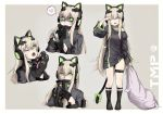 1girl alma01 animal_ears bangs black_jacket blonde_hair bow breasts cat_ear_headphones cat_ears cat_paws cat_tail character_name commentary_request eyebrows_visible_through_hair fake_animal_ears girls_frontline gloves green_eyes hair_between_eyes headphones highres jacket knife long_hair looking_at_viewer medium_breasts multiple_views paws pillow ribbon sidelocks simple_background sleepy tail thigh_strap tmp_(girls_frontline) very_long_hair yandere yawning