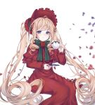 1girl absurdly_long_hair absurdres ahoge blonde_hair blue_eyes cup dress floating_hair highres holding holding_cup invisible_chair lolita_fashion long_dress long_hair long_sleeves looking_at_viewer red_dress reel37891 rozen_maiden shinku simple_background sitting solo very_long_hair white_background