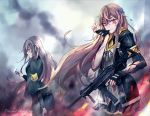 2girls armband assault_rifle bangs biting black_gloves black_jacket black_legwear black_skirt blood blood_on_face brown_eyes brown_hair closed_mouth cocoka crying crying_with_eyes_open eyebrows_visible_through_hair fingerless_gloves fire flame floating floating_hair flower girls_frontline glove_biting glove_pull gloves grey_hair gun h&k_ump h&k_ump45 hair_between_eyes hair_flower hair_ornament heckler_&_koch highres holding holding_flower holding_gun holding_weapon hood hooded_jacket jacket long_hair long_sleeves looking_at_viewer looking_to_the_side multiple_girls open_clothes open_jacket pantyhose petals ribbon rifle scar scar_across_eye shirt simple_background skirt standing submachine_gun tears torn_clothes ump40_(girls_frontline) ump45_(girls_frontline) weapon white_shirt yellow_eyes