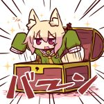 1girl animal_ear_fluff animal_ears arms_up bangs bell bell_collar blonde_hair blush brown_collar collar emphasis_lines eyebrows_visible_through_hair fox_ears fox_girl fox_tail green_shirt hair_between_eyes hair_ornament jingle_bell kemomimi-chan_(naga_u) keyhole long_hair long_sleeves naga_u orange_neckwear original red_eyes shirt sidelocks sleeves_past_fingers sleeves_past_wrists solo sparkle tail tail_raised translation_request treasure_chest v-shaped_eyebrows white_background
