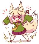 1girl angry animal_ear_fluff animal_ears bangs bell bell_collar blonde_hair blush brown_collar collar eyebrows_visible_through_hair fox_ears fox_girl fox_tail full_body green_shirt hair_between_eyes hair_bun hair_ornament jingle_bell kemomimi-chan_(naga_u) legs_apart long_hair long_sleeves looking_at_viewer naga_u open_mouth orange_neckwear original pleated_skirt purple_skirt red_eyes red_footwear ribbon-trimmed_legwear ribbon_trim sailor_collar school_uniform serafuku shadow shirt sidelocks skirt sleeves_past_fingers sleeves_past_wrists solo tail tail_raised thigh-highs v-shaped_eyebrows wavy_mouth white_background white_legwear white_sailor_collar zouri