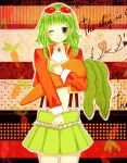 carrot coat goggles green_eye green_hair gumi skirt smile smiling vocaloid winking
