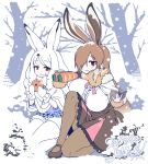 2girls animal_ears arctic_hare_(kemono_friends) binoculars book breasts brown_footwear brown_hair brown_legwear brown_skirt bunny_tail capelet center_frills commentary_request day eating european_hare_(kemono_friends) eyebrows_visible_through_hair food food_on_face fur_collar fur_trim gradient_hair hair_over_one_eye high-waist_skirt japari_bun kemono_friends kneeling large_breasts long_hair long_sleeves looking_at_viewer mittens multicolored_hair multiple_girls outdoors pantyhose rabbit_ears red_eyes seiza shirt sitting skirt smile snow tail tree very_long_hair white_hair white_legwear white_mittens white_shirt yoshida_hideyuki