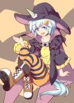 1girl alternate_costume animal_ears black_cape black_hat blue_eyes blue_hair blush boots brown_footwear cape choker full_body hair_ornament hand_up harisenbon_chop hat horse_ears horse_tail knees_up looking_at_viewer orange_legwear pantyhose seiun_sky short_hair sitting solo striped striped_legwear tail umamusume wide_sleeves witch_hat