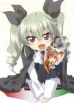 1girl :d anchovy anzio_school_uniform arm_support background_text bangs black_cape black_footwear black_neckwear black_ribbon black_skirt cape commentary_request dress_shirt drill_hair eyebrows_visible_through_hair flag_print food foreshortening full_body girls_und_panzer green_hair hair_ribbon head_tilt highres holding holding_food italian italian_flag kneeling kuroi_mimei leaning_forward loafers long_hair long_sleeves looking_at_viewer miniskirt necktie open_mouth pantyhose pizza pleated_skirt red_eyes ribbon school_uniform shirt shoes skirt smile solo steam twin_drills twintails white_legwear white_shirt