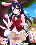 1girl animal_ears bangs blue_hair blush earrings gloves hair_between_eyes heart highres holding jewelry korekara_no_someday long_hair looking_at_viewer love_live! love_live!_school_idol_project mikimo_nezumi puffy_shorts rabbit rabbit_ears shorts smile solo sonoda_umi thigh-highs white_gloves white_legwear yellow_eyes