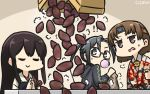 3girls akagi_(kantai_collection) amagiri_(kantai_collection) asymmetrical_bangs bag bangs black_hair black_jacket box brown_eyes brown_hair chewing_gum chiyoda_(kantai_collection) closed_eyes commentary_request dated floral_print food grey_eyes grey_hair hair_between_eyes hamu_koutarou headband highres hood hooded_jacket hoodie jacket japanese_clothes kantai_collection long_hair multiple_girls muneate paper_bag ponytail semi-rimless_eyewear short_hair straight_hair sweet_potato table tasuki under-rim_eyewear upper_body very_long_hair