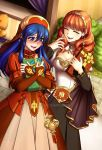 2girls absurdres adricarra armor blue_eyes blue_hair blush cape celica_(fire_emblem) dress fingerless_gloves fire_emblem fire_emblem:_fuuin_no_tsurugi fire_emblem_echoes:_mou_hitori_no_eiyuuou fire_emblem_heroes gloves hat headband highres jewelry lilina long_hair multiple_girls nintendo open_mouth redhead smile tiara