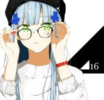 1girl adjusting_eyewear bangs beanie blunt_bangs blush bracelet breasts casual eyebrows_visible_through_hair facial_mark girls_frontline glasses green_eyes hair_ornament hat highres hk416_(girls_frontline) ichiki_1 jewelry long_hair looking_at_viewer medium_breasts nail_polish parted_lips red_nails sidelocks silver_hair solo sweater teardrop very_long_hair white_sweater wristband