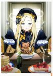 1girl abigail_williams_(fate/grand_order) absurdres bangs black_bow black_dress black_hat blonde_hair blue_eyes blush bow cake chair cheesecake day dress eyebrows_visible_through_hair fate/grand_order fate_(series) food forehead fork fruit hair_bow hands_up hat highres holding holding_fork holding_knife indoors knife long_hair long_sleeves mini_hat on_chair orange_bow pancake parted_bangs parted_lips polka_dot polka_dot_bow popuru sitting sleeves_past_fingers sleeves_past_wrists slice_of_cake solo sparkle stack_of_pancakes steak strawberry stuffed_animal stuffed_toy sunlight table teddy_bear very_long_hair window