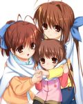 3girls antenna_hair blue_ribbon brown_eyes brown_hair clannad furukawa_nagisa furukawa_sanae grandmother_and_granddaughter hair_ribbon hand_holding long_hair mother_and_daughter multiple_girls okazaki_ushio otou_(otou_san) ponytail ribbon scarf shared_scarf short_hair simple_background smile white_background white_scarf