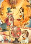 1boy 1girl black_hair bodice bodysuit breasts brown_eyes choker cleavage commentary_request deboo dr_tot final_fantasy final_fantasy_ix garnet_til_alexandros_xvii globe gloves latex long_hair low-tied_long_hair orange_bodysuit smile traditional_media watercolor_(medium) younger