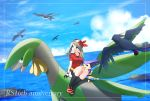 1girl bandanna bike_shorts black_legwear black_shorts blue_eyes blue_sky blurry blurry_background brown_hair copyright_name creatures_(company) day full_body game_freak gen_3_pokemon haruka_(pokemon) highres kneehighs long_hair miniskirt nintendo ocean outdoors pencil_skirt pokemon pokemon_(creature) pokemon_(game) pokemon_rse red_shirt shirt short_sleeves shorts shorts_under_skirt sitting skirt skitty sky smile swellow tropius white_skirt yuihiko