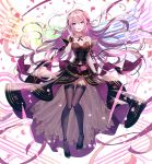 1girl artist_request bangs black_legwear breasts cleavage detached_collar dress eyebrows_visible_through_hair full_body hair_ornament headphones high_heels long_hair looking_at_viewer medium_breasts megurine_luka navel official_art open_mouth petals pink_hair shiny shiny_clothes shiny_hair simple_background smile solo strapless strapless_dress thigh-highs vocaloid