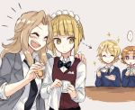 ... 4girls bangs bartender black_neckwear blazer blonde_hair blouse blue_eyes blue_sweater blunt_bangs bow bowtie braid brown_vest closed_mouth collared_blouse commentary cup cutlass_(girls_und_panzer) darjeeling directional_arrow dress_shirt drunk eyebrows_visible_through_hair girls_und_panzer grey_background grey_jacket hair_intakes hand_on_another's_shoulder handkerchief holding holding_cup jacket jealous jitome kay_(girls_und_panzer) laughing light_frown long_hair long_sleeves maid_headdress multiple_girls necktie open_clothes open_jacket orange_hair orange_pekoe parted_bangs saucer saunders_school_uniform school_uniform shirt short_hair sitting sleeves_rolled_up sparkle spoken_ellipsis st._gloriana's_school_uniform standing sweatdrop sweater teacup tied_hair trembling twin_braids v-neck vest white_blouse white_shirt wing_collar yellow_eyes yuuyu_(777)