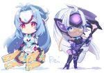2girls android bare_shoulders blue_eyes blue_hair breasts cleavage cyborg dark_skin elbow_gloves expressionless forehead_protector glasses gloves himono_xeno kos-mos kos-mos_re: leotard long_hair looking_at_viewer multiple_girls nintendo red_eyes silver_hair smile standing t-elos t-elos_re thigh-highs very_long_hair white_leotard xenoblade_(series) xenoblade_2 xenosaga xenosaga_episode_iii