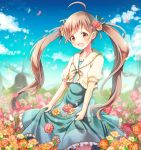 1girl :d ahoge aqua_dress aqua_ribbon blue_sky brown_eyes brown_hair clouds collarbone daisy day dress eyebrows_visible_through_hair field floating_hair flower flower_field frilled_dress frills hair_flower hair_ornament hair_ribbon hakozaki_serika idolmaster idolmaster_million_live! long_hair open_mouth outdoors pink_flower ribbon serino_itsuki short_sleeves skirt_hold sky smile solo standing sundress twintails very_long_hair white_flower yellow_cardigan yellow_flower