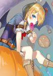 1girl arm_support bangs black_wings blonde_hair blue blue_skirt blush boots brown_footwear candy corset eyes food hair_ornament hairclip hakuishi_aoi lollipop long_hair original parted_bangs pleated_skirt pumpkin shirt short_sleeves sitting skirt solo white_shirt wings