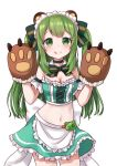 1girl :p animal_ears animare apron arm_garter armpit_crease bangs bare_shoulders bear_ears bear_paws blush bow bowtie breasts choker cleavage closed_mouth commentary_request cowboy_shot crop_top cross-laced_clothes detached_collar frilled_skirt frills green_bow green_choker green_eyes green_hair green_neckwear green_skirt hair_bow hands_up highres hinokuma_ran long_hair looking_at_viewer maid maid_apron maid_headdress maka_neko medium_breasts midriff miniskirt navel sidelocks simple_background skirt sleeveless smile solo standing stomach tareme tongue tongue_out two_side_up virtual_youtuber white_background white_bow
