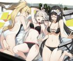 3girls abs ahoge akinashi_yuu arm_up ass bangs barefoot bikini black_bikini black_hair blonde_hair blue_eyes blunt_bangs breasts choker commentary_request competition_swimsuit energy_drink eyebrows_visible_through_hair fate/grand_order fate_(series) flower glasses hair_flower hair_ornament hairband jeanne_d'arc_(alter_swimsuit_berserker) jeanne_d'arc_(fate)_(all) jeanne_d'arc_(swimsuit_archer) long_hair looking_at_viewer low_twintails lying medium_breasts multiple_girls navel o-ring o-ring_bikini o-ring_bottom o-ring_top on_back on_stomach one-piece_swimsuit open_mouth osakabe-hime_(fate/grand_order) pink_eyes pom_pom_(clothes) ponytail profile silver_hair smile stylus sweatdrop swimsuit twintails very_long_hair white_swimsuit yellow_eyes