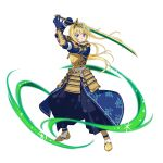 1girl alice_schuberg armor blonde_hair blue_eyes blue_gloves blue_hakama breastplate faulds floating_hair full_body gloves hakama highres holding holding_sword holding_weapon japanese_armor japanese_clothes katana long_hair looking_at_viewer official_art samurai simple_background solo standing sword sword_art_online sword_art_online:_code_register very_long_hair weapon white_background