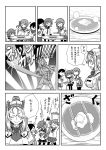 akebono_(kantai_collection) bell butter butter_knife comic fighting_stance food hair_bell hair_ornament headgear highres ikazuchi_(kantai_collection) jingle_bell kantai_collection long_hair military military_uniform monochrome nelson_(kantai_collection) open_mouth otoufu pancake parody pose school_uniform short_hair side_ponytail skirt sunrise_stance translation_request uniform ushio_(kantai_collection) very_long_hair weapon