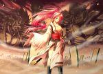 akuma breasts cleavage crossover fate/stay_night fate_(series) gouki guilty_gear inusurvivor inusurvivor_(pixiv) japanese_clothes kataginu katana kimono large_breasts long_hair m.u.g.e.n m_bison melty_blood obi parody pink_eyes pink_hair ponytail street_fighter sword tatami tsukihime type-moon unlimited_blade_works vega weapon wink yumizuka_satsuki