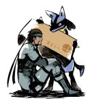 artist_request brown_hair headband lowres lucario metal_gear_(series) metal_gear_solid pokemon pokemon_(creature) red_eyes solid_snake super_smash_bros.
