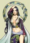boa_hancock breasts cleavage earrings female highres kinoeneko kinoko_nokonoko long_hair one_piece snake solo violet_eyes