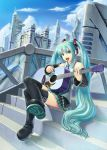 aqua_eyes aqua_hair detached_sleeves guitar hatsune_miku hi-ho- highres instrument legs long_hair microphone necktie sitting skirt stairs thigh-highs thighhighs twintails vocaloid zettai_ryouiki