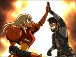 beard blonde_hair blue_eyes captainosaka cigarette epic explosion facial_hair grin high_five highfive long_hair metal_gear metal_gear_solid metroid mustache nintendo samus_aran smile smoking solid_snake super_smash_bros. varia_suit