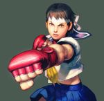 brown_eyes brown_hair capcom clenched_hands fingerless_gloves fist gloves headband highres kasugano_sakura legs lips midriff miniskirt neckerchief necktie official_art sailor_crest school_uniform serafuku shirt short_hair skirt street_fighter street_fighter_iv street_fighter_zero street_fighter_zero_ii