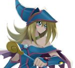 1girl bare_shoulders blonde_hair blush_stickers breasts choker cleavage dark_magician_girl duel_monster green_eyes hat long_hair love_(pspdspsp) pentacle solo staff star wand wizard_hat yu-gi-oh! yuu-gi-ou_duel_monsters