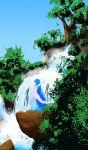 1girl akairiot arms_up bangs blue_hair blue_sky blunt_bangs breasts from_side kelda_(akairiot) leaf liquid_hair long_hair medium_breasts nature nude original outdoors outstretched_arms plant rock scenery sky solo tree very_long_hair walking water waterfall