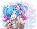 1girl armor blue_hair bow fire_emblem fire_emblem_if gradient_hair hair_bow hair_over_one_eye hiyori_(rindou66) multicolored_hair nintendo open_mouth pieri_(fire_emblem_if) pink_hair red_eyes solo twintails twitter_username