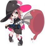 1girl agent_8 black_dress black_footwear black_hat brown_eyes commentary dress english_commentary fangs foreshortening full_body hat head_tilt holding holding_weapon inkbrush_(splatoon) light_blush long_sleeves looking_at_viewer maco_spl medium_dress medium_hair octoling open_mouth paint_splatter pointy_ears pointy_shoes redhead shoes simple_background smile solo splatoon splatoon_(series) splatoon_2 standing suction_cups tentacle_hair weapon witch_costume witch_hat