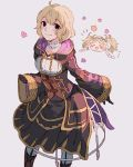 2girls black_gloves blonde_hair closed_eyes closed_mouth dress fire_emblem fire_emblem:_kakusei gloves highres hood hood_down liz_(fire_emblem) long_sleeves mark_(female)_(fire_emblem) mark_(fire_emblem) mother_and_daughter multiple_girls nintendo open_mouth rheamii short_hair simple_background smile twintails wide_sleeves